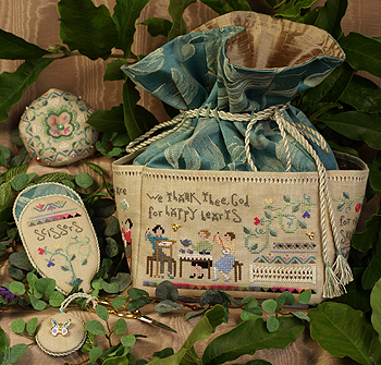 "Victoria Sampler - ""Happy Hearts"" Needlework Bag"