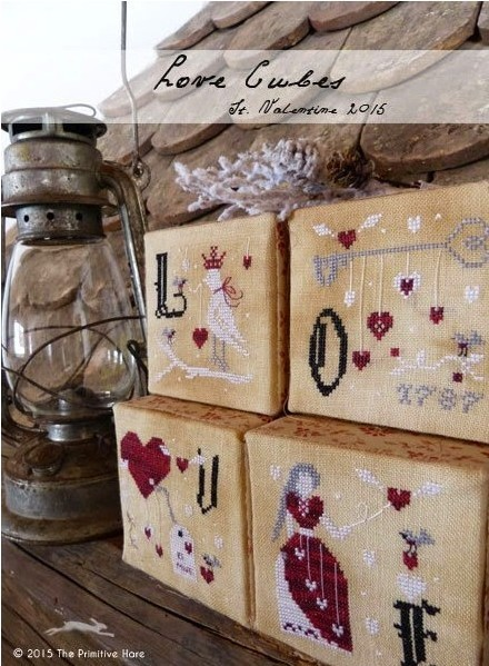 The Primitive Hare - Love Cubes , St Valentine ornaments