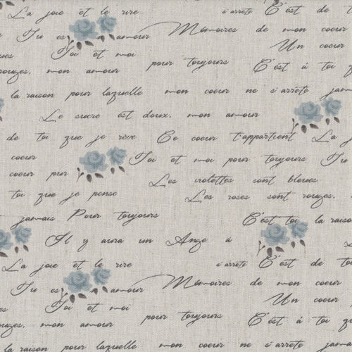 Stof - Shabby Chic Bleu Ecritures