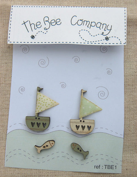 The Bee Company - Boutons bateaux beige et vert TBE1