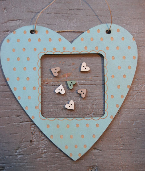 The Bee Company - Cadre coeur pois bleu vintage