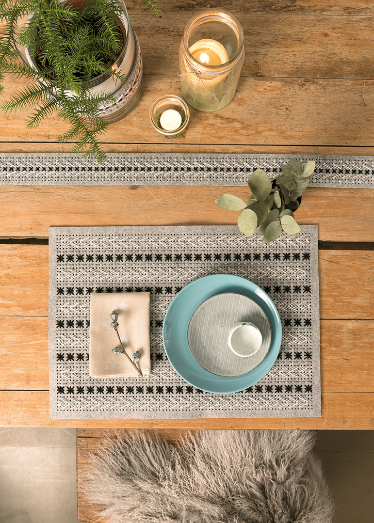 Rico Design - Set de table à Broder , feutre coloris Gris 3540.00.01 (160)