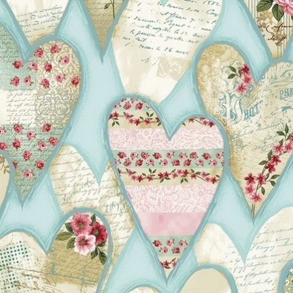 Clothworks - Love Song Hearts Light Teal