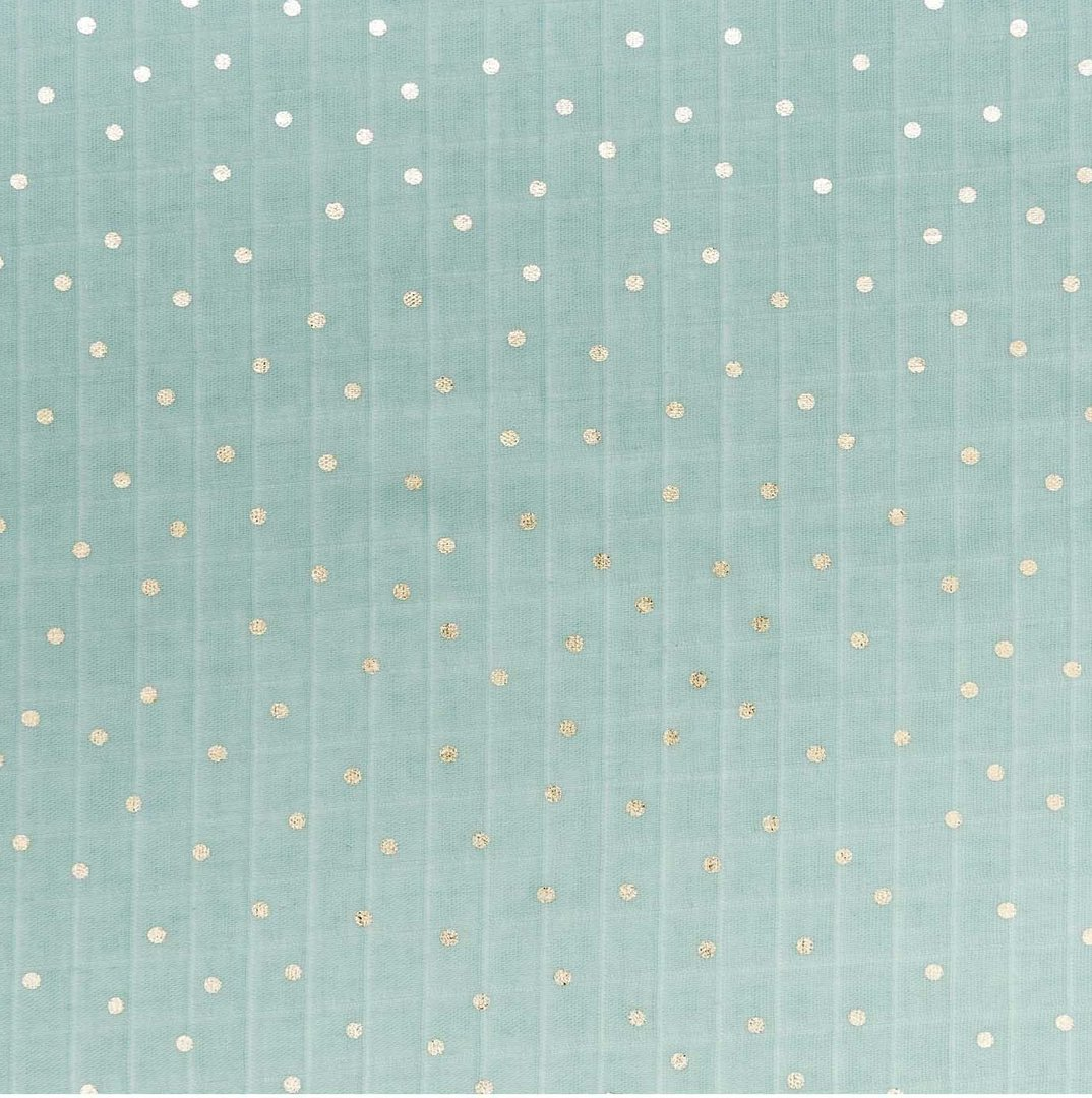 Rico Design - Tissu coton fond menthe , pois metal or (Hygge)