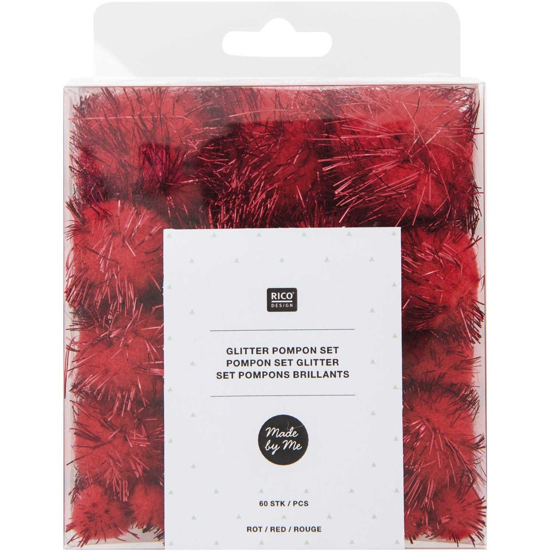 Rico Design - Set de pompons brillants Rouge 08758.00.23 (164)
