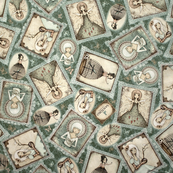 Mirabelle Lost Song Quilting Treasures - Girl Overlapping Patches Dusty Teal