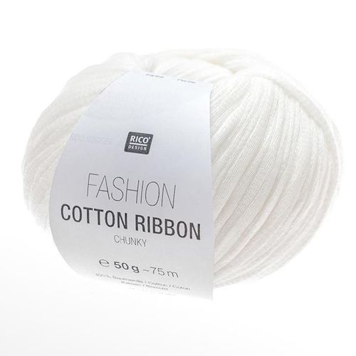 Rico Design - Fashion Cotton Ribbon coloris Blanc 001