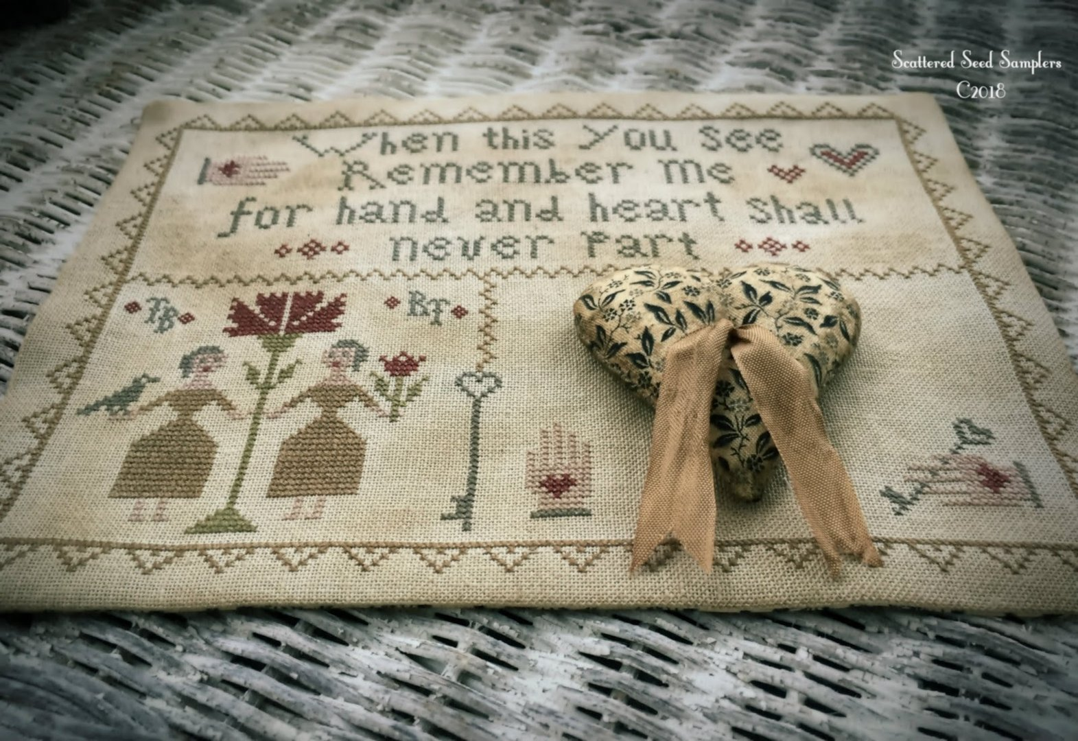 Scattered Seed Samplers - Hand & Heart Stitcher's Mat
