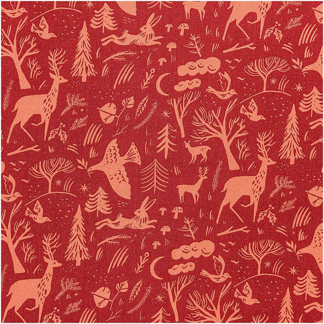 RICO DESIGN - Toile rouge forêt hiver